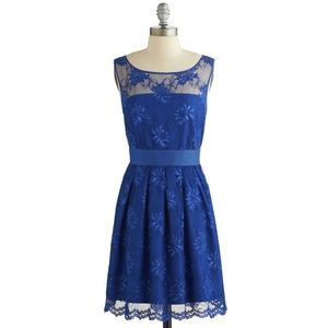"""ModCloth """"Let's Decadence"""" Blue Lace Holiday Dress"""